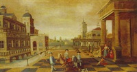 a man leading two young gentlemen on horseback across the courtyard of a moated palace by jacobus balthasar peeters