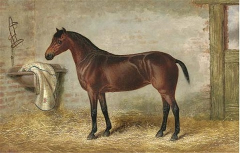 a bay hunter in a stable by george earl