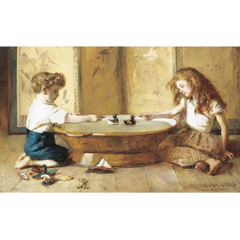 children at play with toy ducks by william hippon gadsby