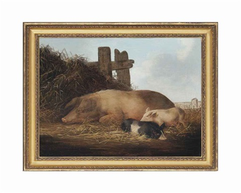 a sow and two piglets by george morland