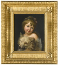 portrait of miss julia metcalfe, holding her dog by nathaniel hone the elder