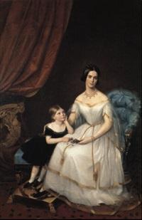 ritratto di nobildonna seduta con la figlioletta accanto by clarisse amic