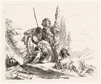 tre soldati e un ragazzo (from vari capricci) by giovanni battista tiepolo