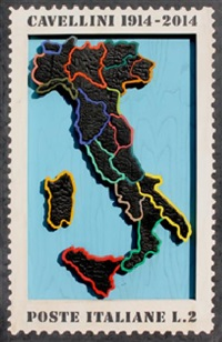 francobollo - italia by guglielmo achille cavellini