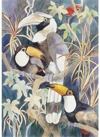 Great hornbill and toco toucans, 1988