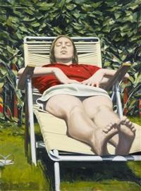 woman sunbathing by sidney goodman