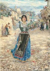 jeune femme jettant des fleurs à l'occasion de la fête de la vierge dans les alpes italiennes by augusto corelli