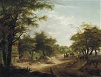 a wooded landscape with travellers on a track and figures at rest before an inn by hermanus van brussel
