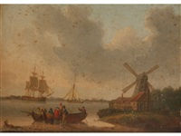 figures and boats on a shoreline with a windmill and sailing vessels beyond by william anderson