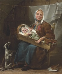 une savoyarde, a mother and child with a dog in an interior by noel halle