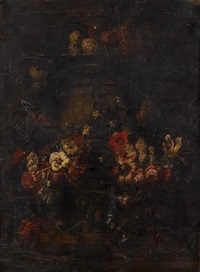 floral garlands adorning an urn upon a ledge by gaspar pieter verbruggen the younger