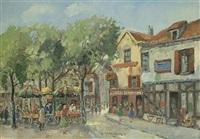 continental town with market stalls by hendrik cornelis kranenburg