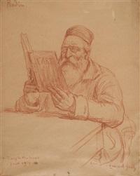 portrait d'auguste rodin lisant l'art, son livre d'entretiens avec paul gsell by lucien laurent-gsell