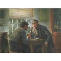 old friends chatting at the pub by gerke henkes