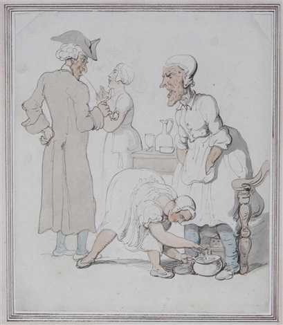 a gentleman smoking a pipe and three serving women by thomas rowlandson