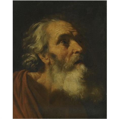 head of a male saint study of saint peter by hendrick van somer