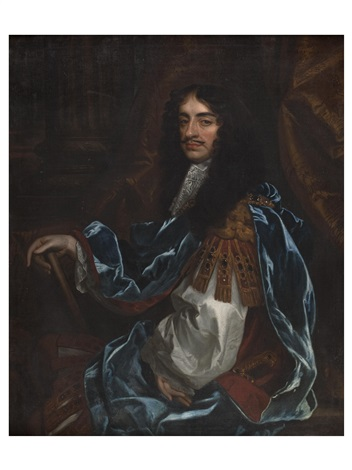 a three quarter length portrait of charles ii in blue robe by sir peter lely