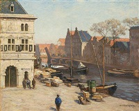 a view of het spaarne, haarlem by antonie louis koster