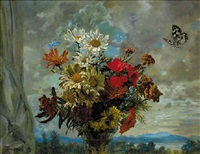 summer flowers in a vase with encircling butterflies, a landscape beyond by ludwig bartning