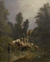 ferme aux toits de chaume avec vaches, moutons et chevre by andré cortes