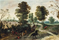 a cavalry skirmish on a track by peter (petrus) snyers