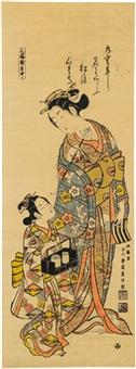 oiran (urushi-e) by ishikawa (nishimura shigenobu) toyonobu
