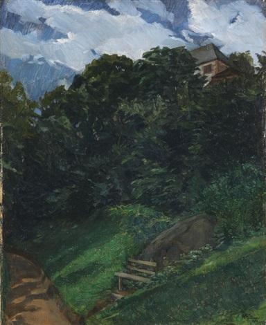 schlosspark lichtenberg mit bank odenwald by wilhelm trübner