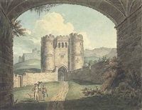 carisbrooke castle, isle of wight, seen through an archway, with elegant figures in the foreground by edward dayes