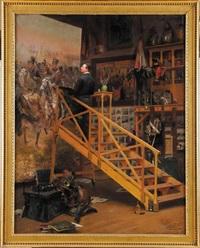 edouard detaille dans son atelier, peignant le célèbre tableau la charge du 4ème hussards by basile lemeunier