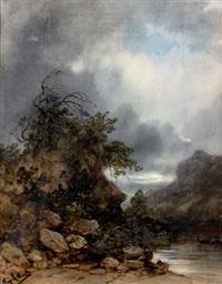 paysage orageux au bord de l'eau by gabriel hippolyte le bas
