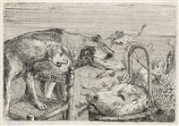 two dogs, a head of a pig in a basket with fruit by frans snijders