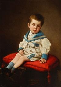 jeune garçon assis sur coussin rouge by a. van antro