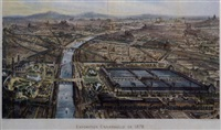 exposition universelle de 1878, panorama des parces et palais du champ de mars, du trocadero et de la ville de paris by charles fichot