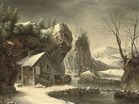 an extensive winter landscape with a peasant by a cottage by francesco foschi