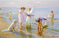 beach scene with children playing by aleksandr averin