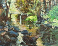 bridge, pond, ducks by keith ward