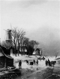 winter skating scene by a. de groote