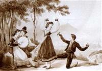 un couple de napolitains dansant avec des castagnettes devant des joueurs de tambourin dans la baie de naples, le vésuve dans le fond by jean alaux
