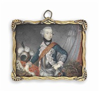 a prussian prince, possibly frederick william ii (1744-1797), king of prussia, in blue coat with silver-embroidered pink facings by anton friedrich könig
