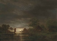 a moonlit estuary by jacobus theodorus abels