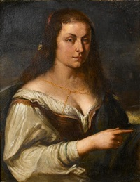 portrait of a young woman, half-length, with a flower in her hair, a brown waistcoat, a white chemise and a blue wrap by orazio ferraro