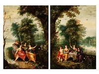 allegorie der vier jahreszeiten (+ allegorie der vier elemente; 2 works) (in collab. with a follower of frans francken) by jan brueghel the younger