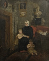 mrs. tighe, seated in the drawing room at rossana beneath the bust of herself by bartolini, with two of her grandchildren by maria spilsbury