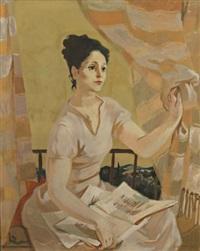 jeune femme lisant by lucien joseph fontanarosa