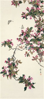 桃花蛱蝶 (peach blossoms and butterfly) by qu zhen