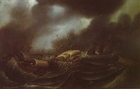 ships in a storm off a rocky coastline with a town beyond by aert van antum