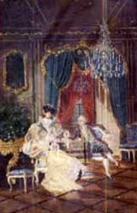 elegant rococo interior with figures dancing by edouard keil
