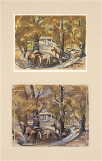 the corral (+ the corral (study), gouache on paper; 2 works) by louie ewing