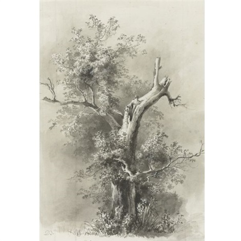 tree study man leaning on a stick smllr pair by jean jacques de boissieu
