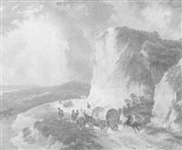 soldiers in an alpine landscape by luigi querena